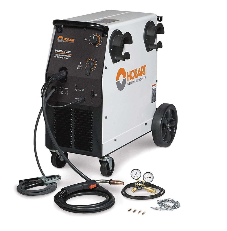 Hobart 500536 Ironman 230 200(208)/230V 60HZ 1 PH MIG Welder with Wheel Kit and Cylinder Rack New