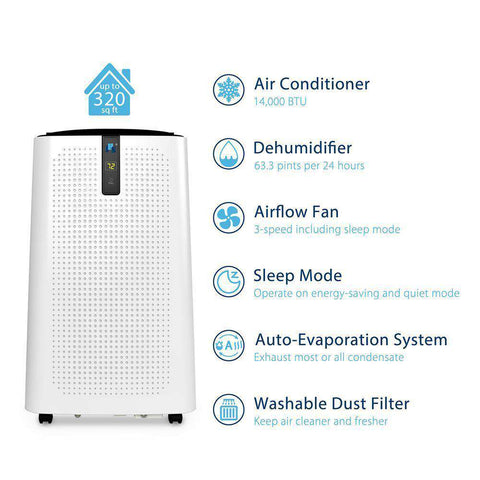 JHS A018-14KR/C 14000 BTU 3-in-1 with 3 Fan Speeds Digital LED Display 320 Sq. Ft. Portable Air Conditioner with Dehumidifier and Remote White New