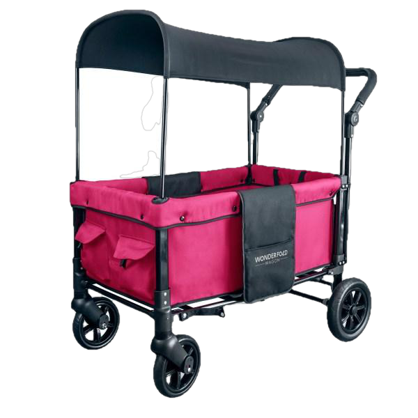 WonderFold Baby W1 Multi-Function Folding Double Stroller Wagon with Removable Canopy Fuschia Pink New