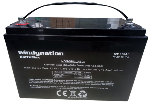 WindyNation 12V 100 Amp-Hour Deep Cycle AGM Sealed Lead Acid Battery for Solar, RV, UPS, Off Grid Battery Bank New