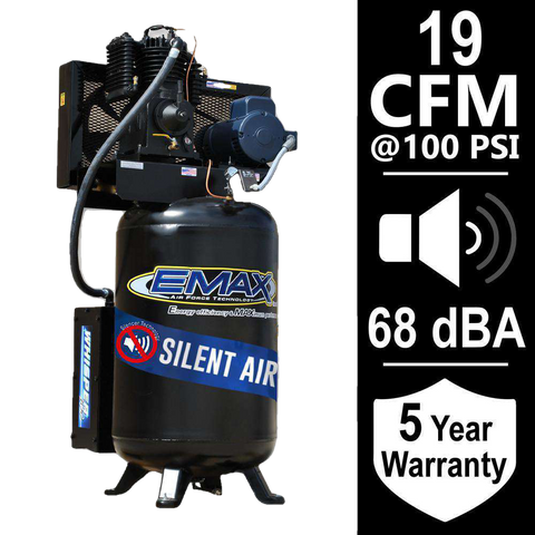 EMAX ES05V080I1 Industrial Series 80 Gal. 5 HP 1-Phase Silent Air Electric Air Compressor New
