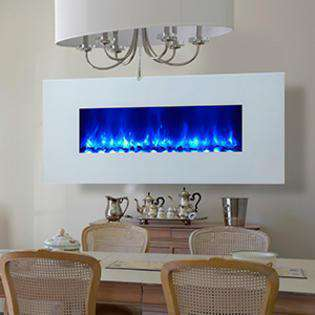 Dynasty Miami EF69-WGR 58 Inch Wall Mount Electric LED Fireplace White New