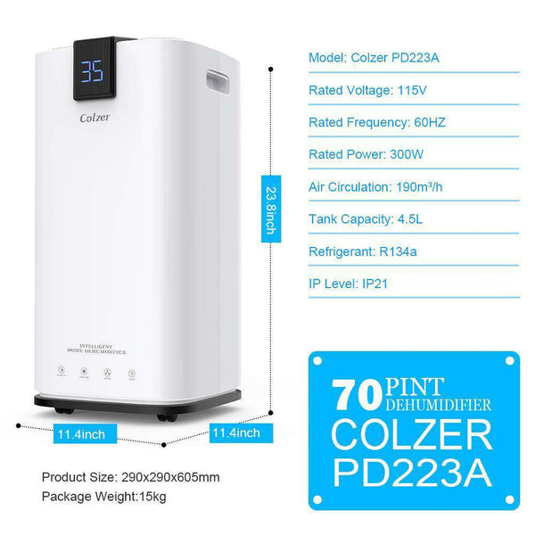 Colzer Colzer-001 Large Capacity 70 Pints Compact Portable Dehumidifier with Continuous Drain Outlet New