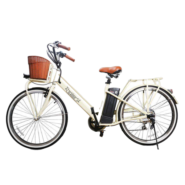 NAKTO 26 inch 250W City Classic Electric Bicycle 6 Speed E-Bike 36V Lithium Battery White New