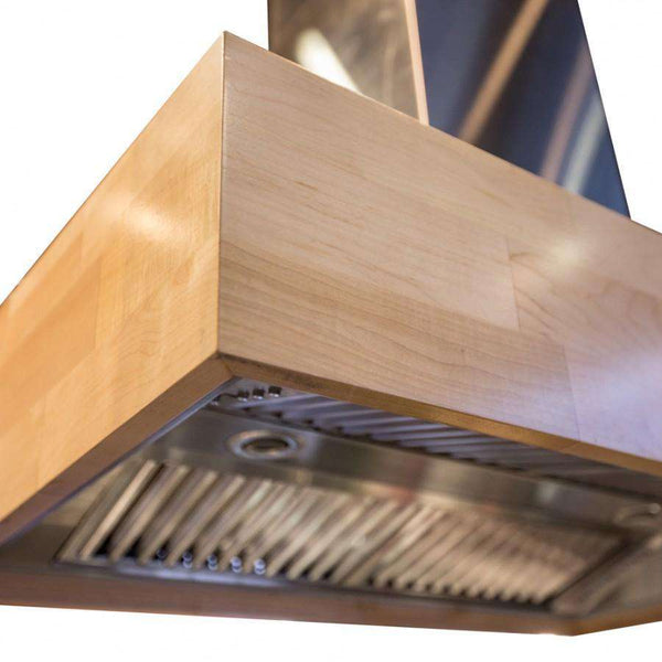 ZLINE 30 in. Remote Blower 900 CFM Designer Series Wooden Island Mount Range Hood in Butcher Block (681iM-RS-30)