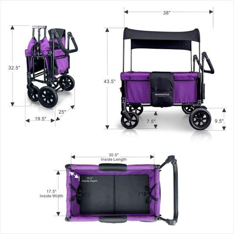 WonderFold Baby W1 Multi-Function Folding Double Stroller Wagon with Removable Canopy Cobalt Violet New