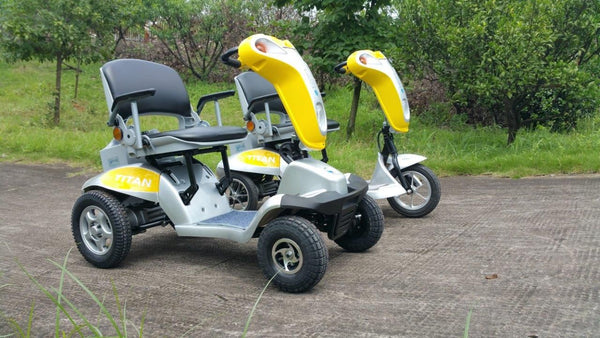 Tzora Titan Hummer XL 4 Wheel Heavy Duty Folding All Terrain Mobility Scooter Yellow New