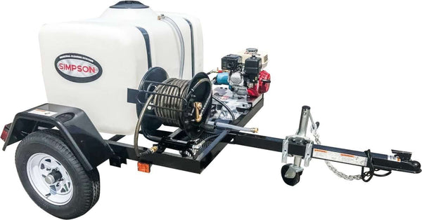 Simpson 95003 4200 PSI 4 GPM Honda GX390 CAT Electric Start Pressure Washer Trailer New