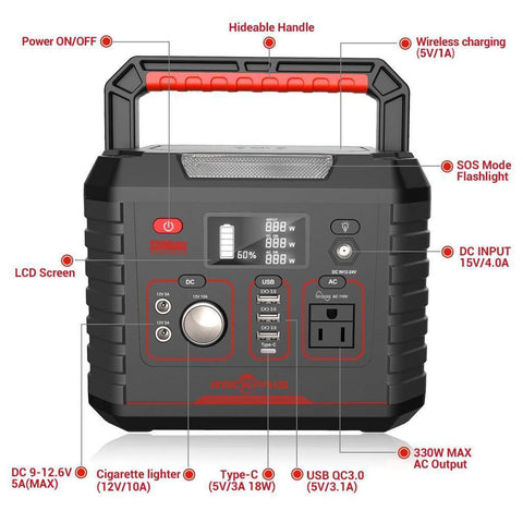 Rockpals RP330W 330W 330W/78000mAh Portable Generator Lithium Portable Power Station New