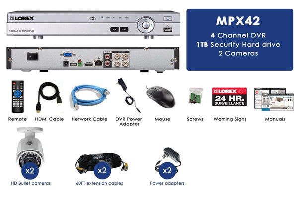 Lorex MPX42W 1080P HD Weatherproof 2 Camera 4 Channel 1 TB MPX DVR Surveillance Security System New