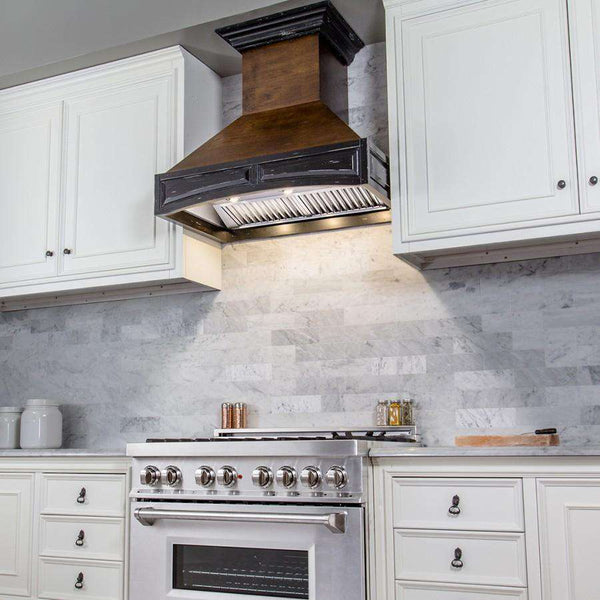 ZLINE 42 in. Wooden Wall Mount Range Hood in Antigua and Walnut - Includes 1200 CFM Motor (321AR-42)