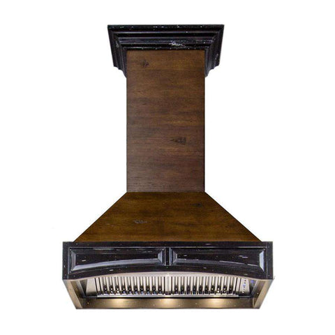 ZLINE 36 in. Wooden Wall Mount Range Hood in Antigua and Walnut - Includes 900 CFM Remote Motor (321AR-RS-36)