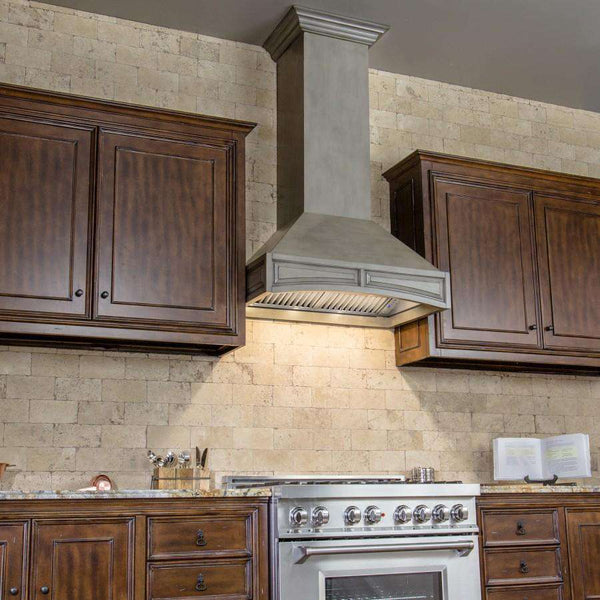 ZLINE 30 in. Wooden Wall Mount Range Hood in Distressed Gray - Includes 900 CFM Remote Motor (321GG-RS-30)