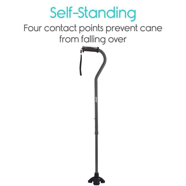 Vive Health Standing Cane Tip - Quad Rubber Replacement Foot Pad for Walking Canes New