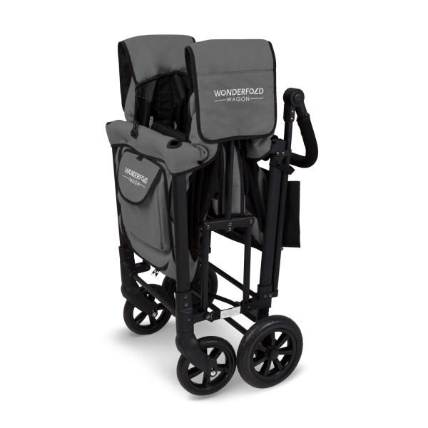WonderFold Baby W2 Multi-Function Folding Double Stroller Wagon with Removable Canopy and Seats Gray New