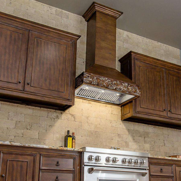 ZLINE 36 in. Wooden Wall Mount Range Hood in Walnut - Includes 1200 CFM Motor (373RR-36)