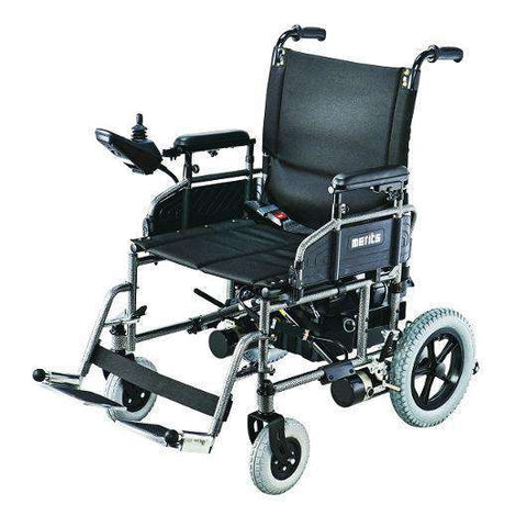 Merits P101 16in Seat Width Travel-Ease Folding Power Chair New