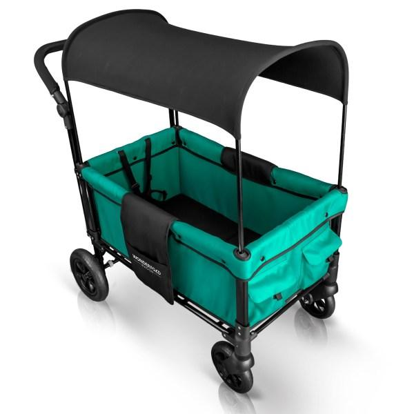 WonderFold Baby W1 Multi-Function Folding Double Stroller Wagon with Removable Canopy Teal Green New
