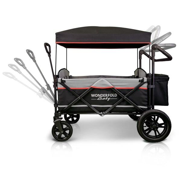WonderFold Baby X4 Push/Pull 4-Passenger Quad Stroller Wagon Black New