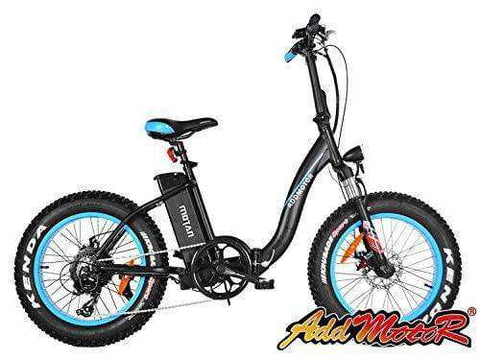 Addmotor M-140 Folding 500W 48V Fat Tire Electric Bike Low-frame All Terrain E-bike Blue New
