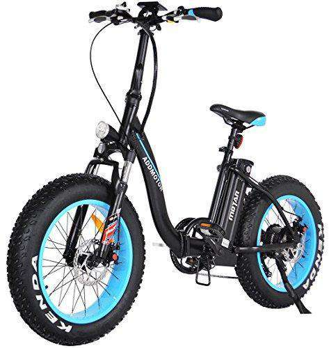 "Addmotor M-140 Folding 500W 48V 26"" Fat Tire Electric Bike Low-frame All Terrain E-bike Blue New"