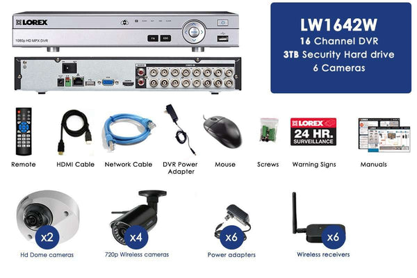 Lorex LW1642W HD 6 Camera 16 Channel DVR Wireless Indoor/Outdoor Surveillance Security System New