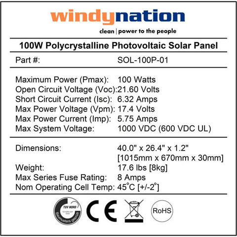 WindyNation SOK-100WP-P20L 100 Watt 12V Solar Panel Kit with LCD Charger Controller New