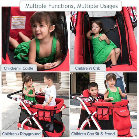 WonderFold Baby MJ01 Multi-Function Pram Stroller Wagon with Removable Seat – Chariot Mini Red New