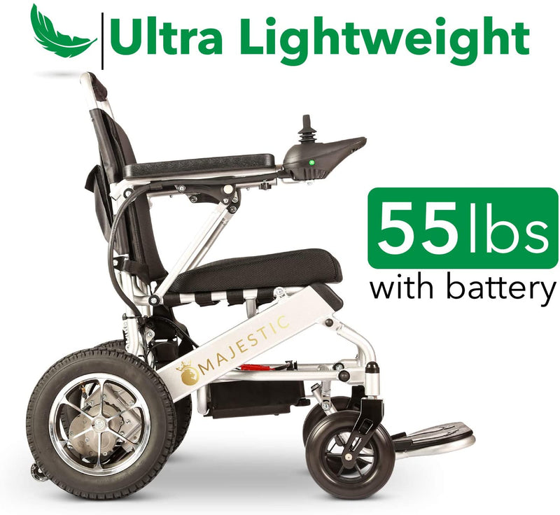 ComfyGO 601-7001 Majestic Fold & Travel Lightweight Electric Power Heavy Duty Wheelchair Scooter Silver New