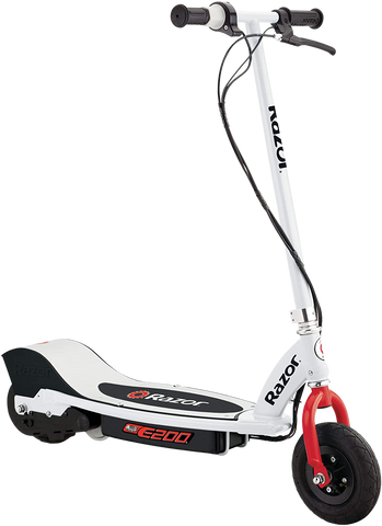 "Razor E200 Up to 9 Mile Range 12 MPH 8"" Tires Electric Scooter White-Red  New"