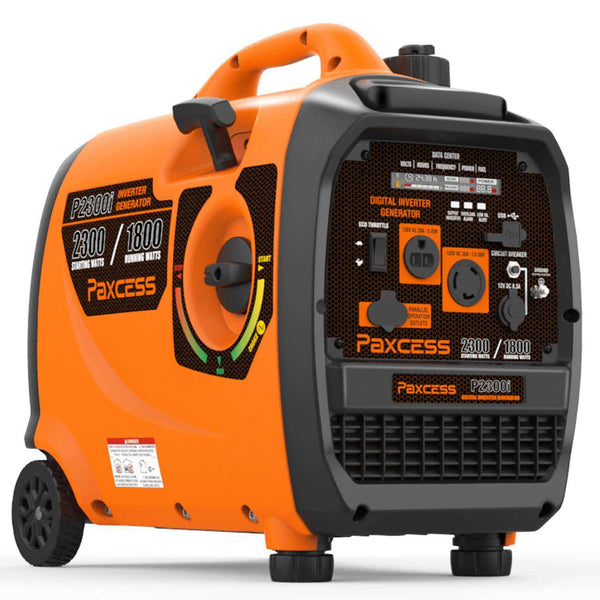 Paxcess P2300i 1800W/2300W Super Quiet Portable Gas Inverter Generator with Wheels and Handle New