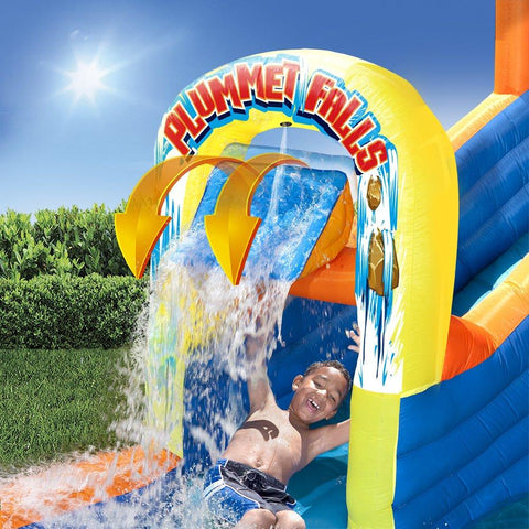 BANZAI 90325 Plummet Falls Adventure Slide Inflatable Water Park Multicolor New