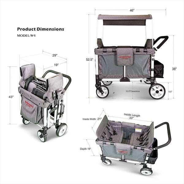 WonderFold Baby Multi-Function Folding Quad Stroller Wagon with Removable Canopy and Seats Gray Used