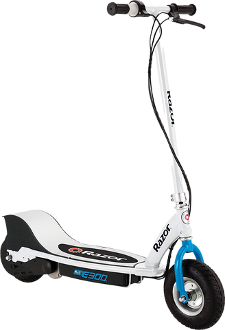 "Razor E300 Up to 10 Mile Range 15 MPH 9"" Tires Electric Scooter Blue White New"