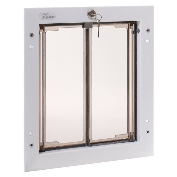 PlexiDor PD DOOR MD WH Medium Energy Efficient Weatherproof Pet Door With Key Security Lock White New