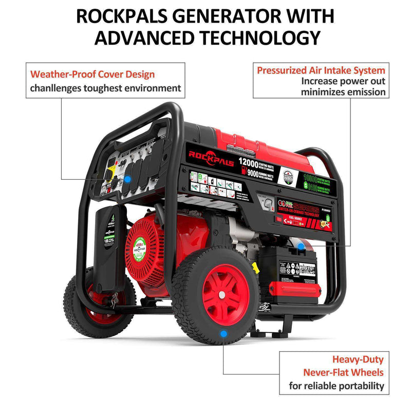 Rockpals RP12000ED 9000W/12000W Electric Start Dual Fuel Portable Generator New