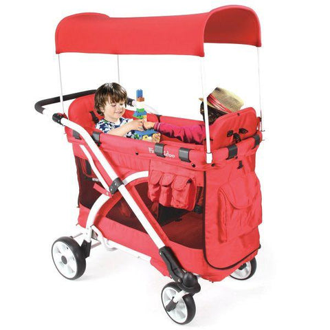 WonderFold Baby MJ04 Multi-Function Double Folding Stroller Wagon with Removable Canopy & 5-Point Harness Seats – Chariot Milioo New