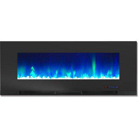 Cambridge CAM50WMEF-1BLK 50 Inch Wall-Mount Electric Fireplace Heater with Multi-Color LED Flames and Crystal Rock Display New
