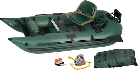 Sea Eagle 285 Inflatable Portable Frameless Fishing Pontoon Boat Pro Package Green New
