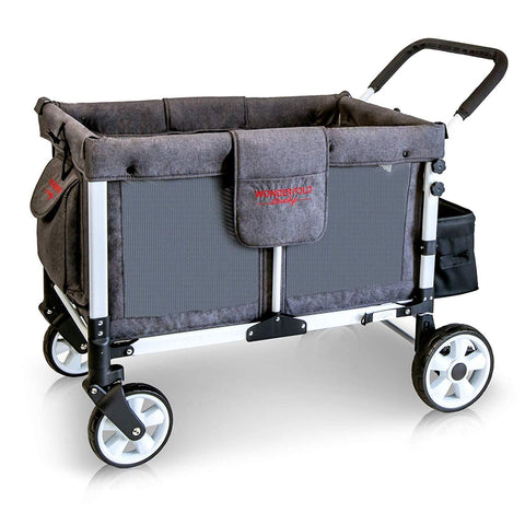 WonderFold Baby Multi-Function Folding Quad Stroller Wagon with Removable Canopy and Seats Gray New