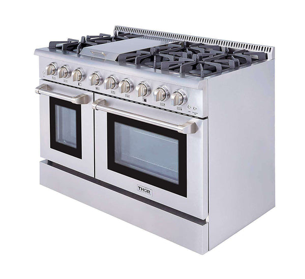 Thor Kitchen HRG4808U 48 in. Professional Gas Range with Double Oven 6 Burners Blue Porcelain Interior Stainless Steel New