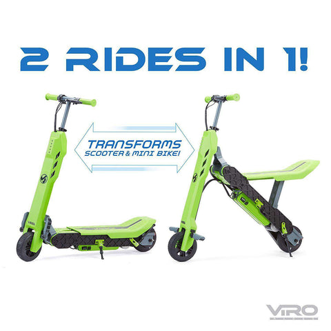 Little Tikes Viro Rides Vega 2-N-1 Transforming Electric Scooter Green New