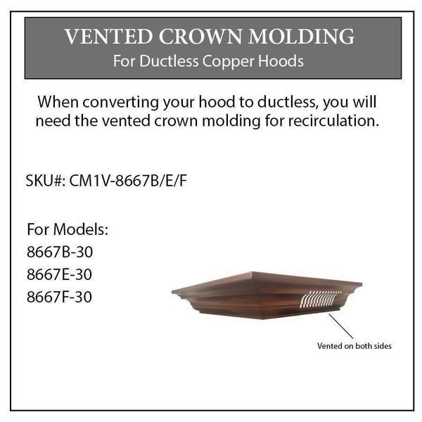 ZLINE Vented Crown Molding Profile 1 for Wall Mount Range Hood (8667B)