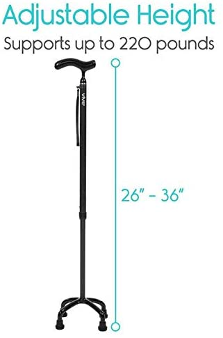 Vive Health Carbon Fiber Quad Cane Lightweight Adjustable Staff New
