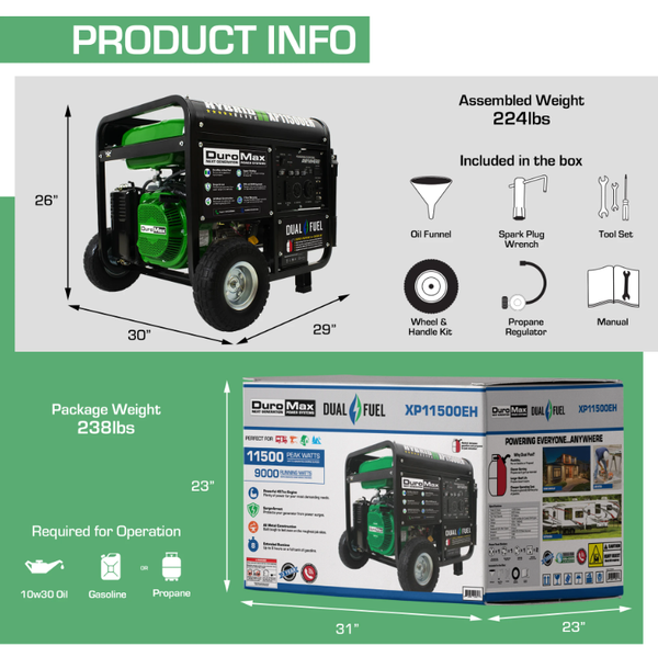 DuroMax XP11500EH 9000W/11500W Dual Fuel 18 HP Electric Start Generator New