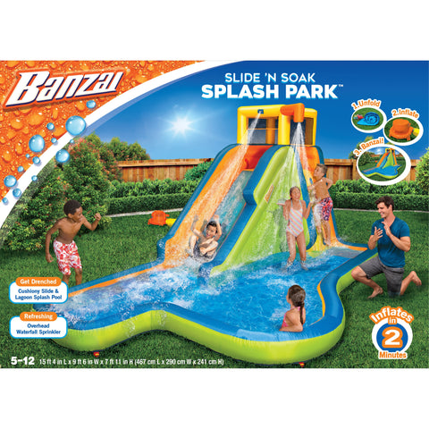 BANZAI 90321 KO-C Slide N Soak Splash Park Inflatable Outdoor Kids Water Park Play Center with Blower Multicolor New