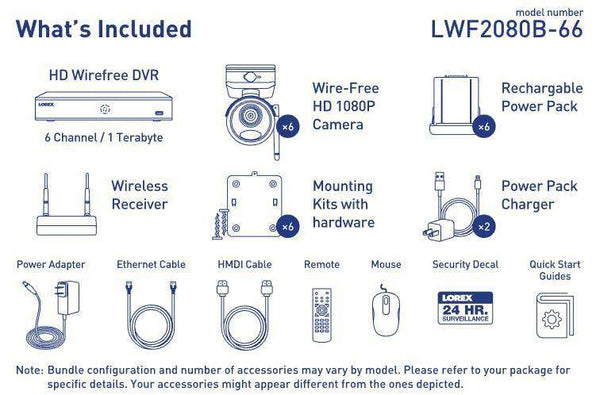 Lorex LWF2080B-66 Wire Free Battery Two-Way Audio 6 Camera 6 Channel Indoor/Outdoor Security Surveillance Open Box