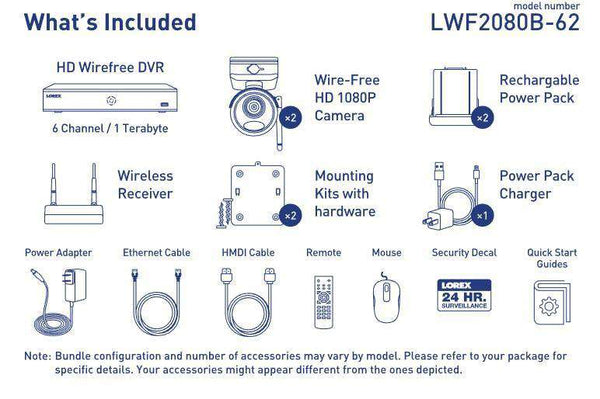 Lorex LWF2080B-62 Wire Free Battery Two-Way Audio 2 Camera 6 Channel Indoor/Outdoor Security Surveillance System New