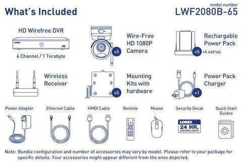 Lorex LWF2080B-65 Wire Free Battery Two-Way Audio 5 Camera 6 Channel Indoor/Outdoor Security Surveillance System New