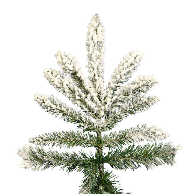 Vickerman A895175 Flocked Utica Fir Christmas Tree with 1650 PVC Tips 7.5 Ft X 65 Inches Stand Included Unlit New